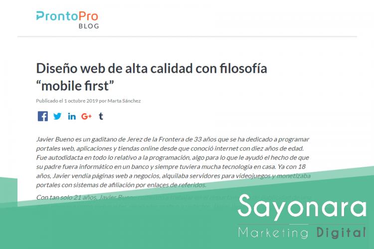 Entrevista sobre «Diseño web Mobile First» en el Blog de Pronto Pro